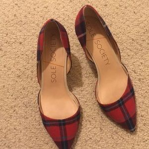 Plaid red shoes 7.5